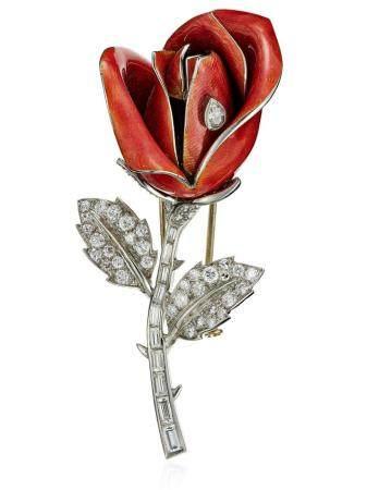 BOUCHERON DIAMOND AND ENAMEL FLOWER BROOCH