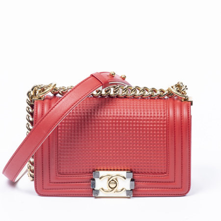 Chanel Red Cube Embossed Small Boy Bag