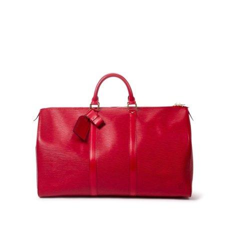 Louis Vuitton Red Epi Keepall 50