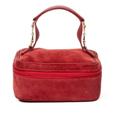 Gucci Red Suede Horsebit Cosmetic Case