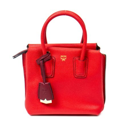 MCM Red Milla Mini Satchel Bag