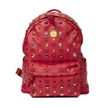 MCM Coral Red Stark All-Over Stud Backpack