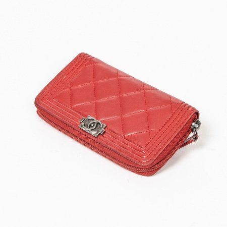 Chanel Red Boy Wallet