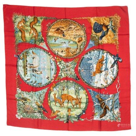 Hermes 'Les Quatre Saisons' Silk Scarf