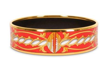 Hermes Red Enamel Bangle