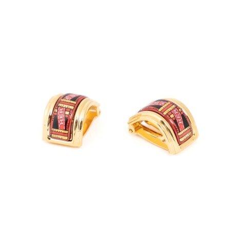 Hermes Red Enamel Clip On Earrings