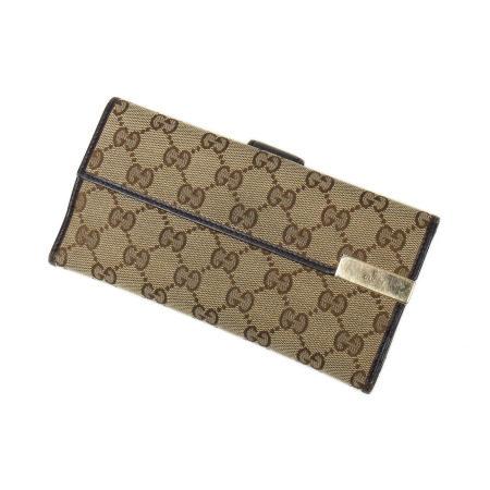 Gucci Beige Monogram Canvas Long Bi-Fold Flap Wallet