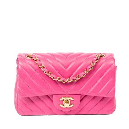 Chanel Pink Chevron Quilted Mini Flap Bag