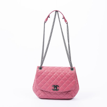 Chanel Pink Quilted Round Single Flap Bag