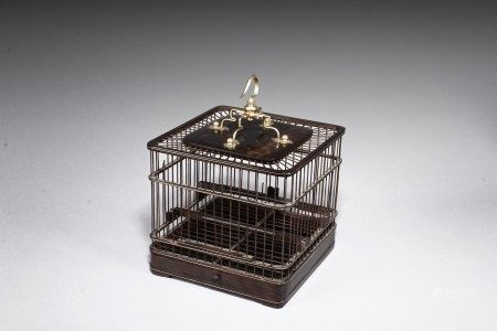 A CHINESE ROSEWOOD SQUARE BIRD CAGE