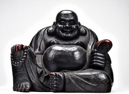 A LARGE WOOD LACQUER LAUGHING BUDDHA