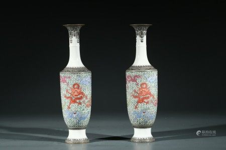A PAIR OF CHINESE FAMILLE ROSE 'DRAGON' VASES