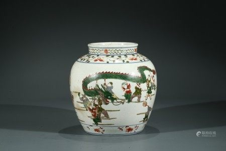 A CHINESE WUCAI 'HUNDRED BOYS' JAR