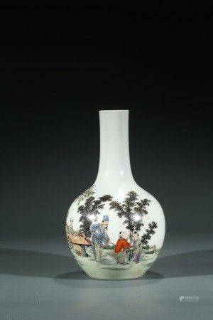 A CHINESE FAMILLE ROSE 'FIGURES' INSCRIBED VASE