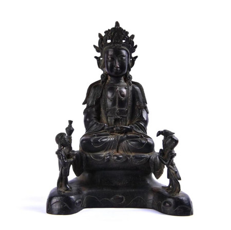 Chinese Bronze Guanyin With Mark Of Eight Years Of Jiajing