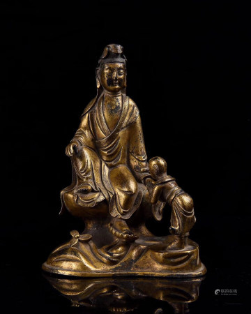 Chinese Ming Dynasty Bronze Gold Gilded Guanyin