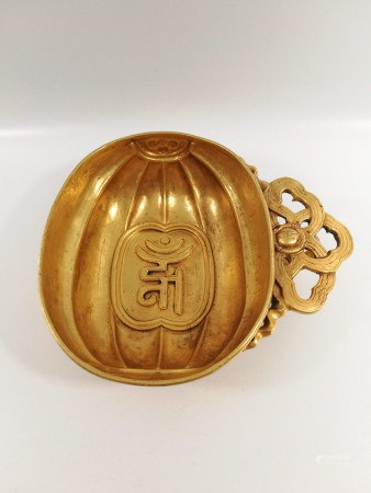 Chinese Antique Sanskrit Ruyi Pure Gold Cup