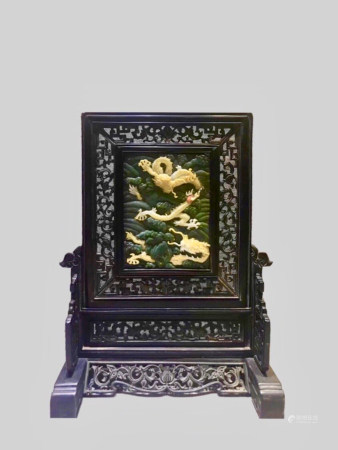 Chinese Old Tibetan Lobular Rosewood Zitan Seat Screen Inlaid With Hetian Jade High Relief And Shell