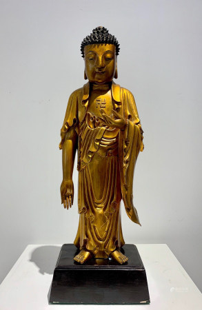 Chinese Qing Dynasty Zhejiang Industry Gold Painted Woodcarving Amitabha Statue