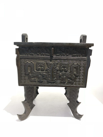 Chinese Qing Dynasty Beast Faced Style Square Stove