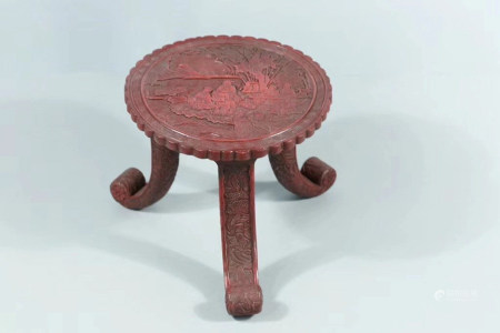 Chinese Qing Dynasty Wooden Lacquerware Small Table