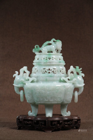 Chinese Late Qing Dynasty Republic Of China Period Hard Jade Incense Burner