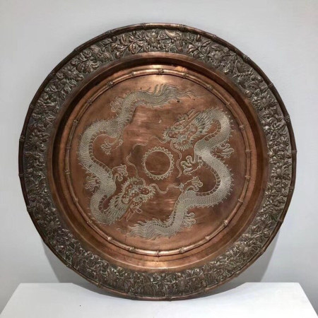 Chinese Qing Dynasty Bronze Pattern Plate