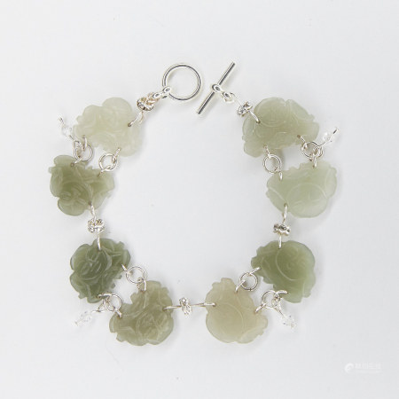 Chinese Jade Crystal and Silver Bracelet
