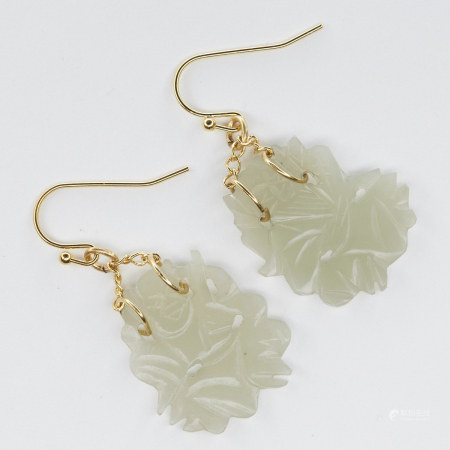 Pair of Chinese Jade and Gold Earrings