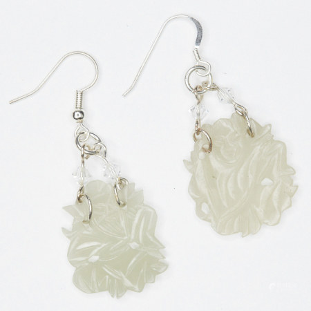 Pair of Chinese Jade Crystal and Sterling Earrings