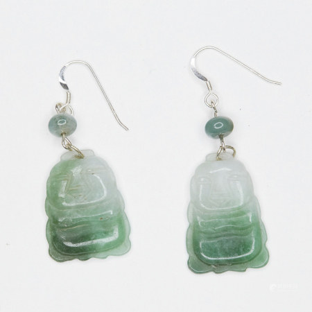Pair of Chinese Jade and Sterling Silver Earrings
