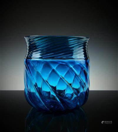 VENINI MURANO ITALIAN AQUA ART GLASS SPIRAL VASE