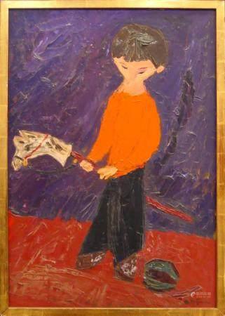 HERBERT KATZMAN (USA 1923-2004) OIL / BOARD OF BOY