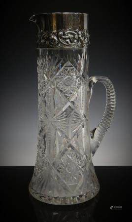 DOMINIC & HAFF ANTIQUE STERLING & CRYSTAL TANKARD