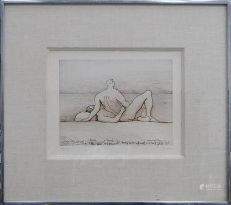 HENRY MOORE (UK 1831-1895) NUDES ETCHING
