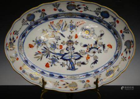 HAND PAINTED MEISSEN LARGE OVAL SERVING PLATER