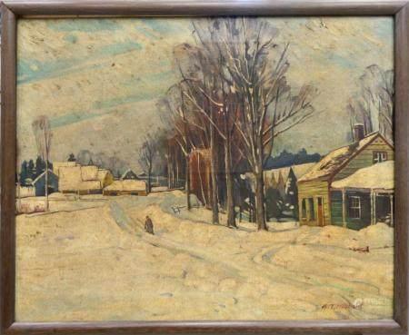 A. T. HIBBARD (USA 1886-1972) WINTER LANDSCAPE OIL