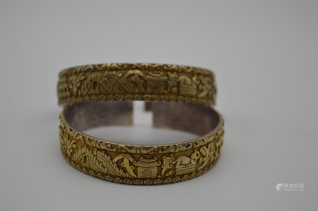 Chinese Pair Of Qing Dynasty Qianlong Period Silver Gold Gilded Bracelets