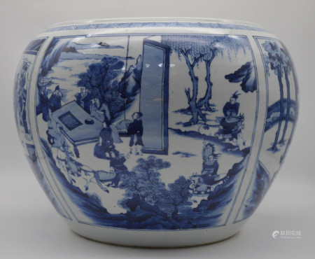 Chinese Qing Dynasty Kangxi Periodblue And White Porcelain Vessel