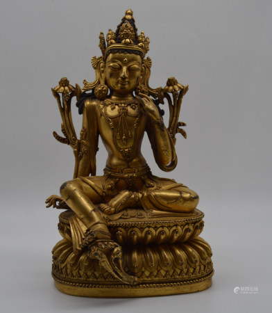 Chinese Daming Yongle Bronze Gold Gilded Statue