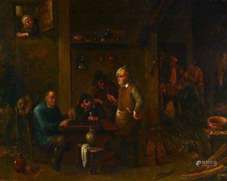 Scène de taverne Huile sur toile (rentoilée, sans cadre)