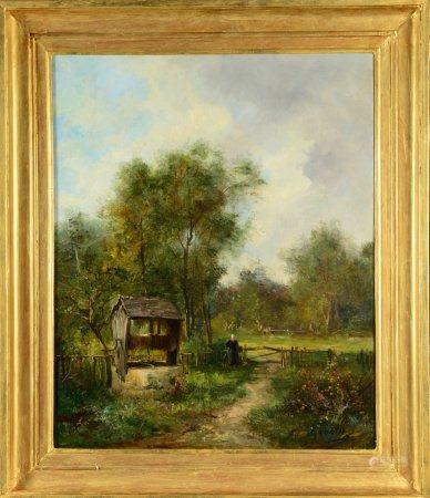 """Paysage au puits et paysanne Huile sur toile portant une signature en bas à droite """"C.LORIN3 Ca"""