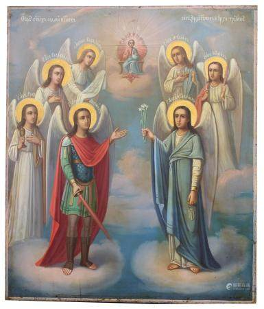 """Exhibited Russian Icon, """"The Seven Archangels"""""""