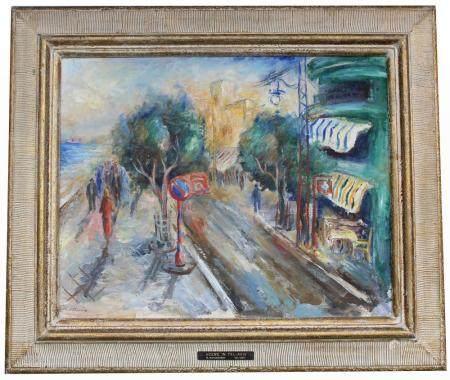 """Moshe Matusovski (1908-1958) """"Scene in Tel-Aviv"""""""