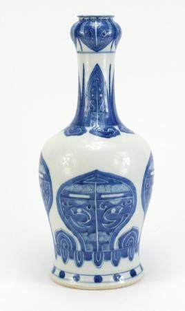 Chinese blue and white porcelain garlic neck vase, hand painted with symmetrical mythical faces, six