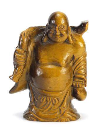 Chinese tiger's eye carving of Buddha, 10cm high :For Further Condition Reports Please Visit Our