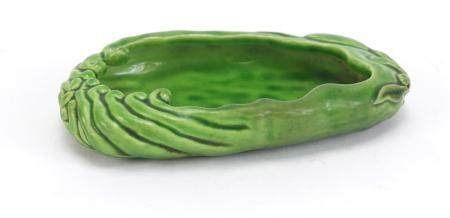 Chinese green glazed porcelain naturalistic brush washer, 11cm wide :For Further Condition Reports