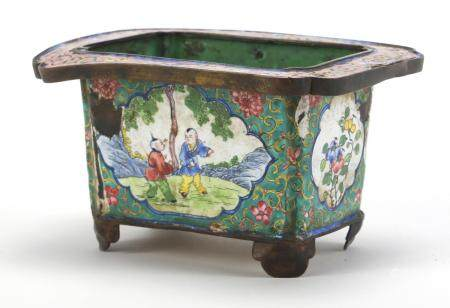 Chinese Canton enamel planter, hand painted with figures and flowers, six figure character marks