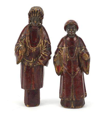 Good pair of Chinese lacquered carved wood figures, the largest 27.5cm high :For Further Condition