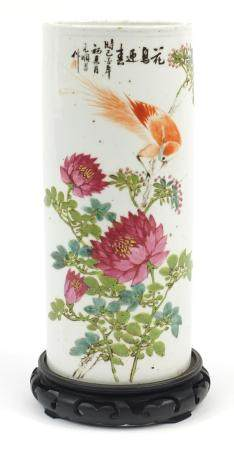 Chinese porcelain sleeve vase, hand painted in famille rose palette with a bird of Paradise